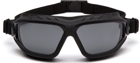 Pyramex Torser Safety Goggles with Black Frame and Gray H2MAX Anti-Fog Lens GB10020TM - Front View