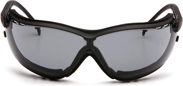 Pyramex V2G Safety Glasses/Goggles with Black Frame and Gray H2MAX Anti-Fog Lens GB1820STM - Front View
