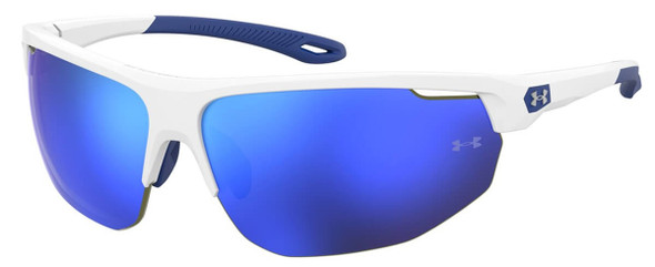 Under Armour Clutch Sunglasses with White Frame and Blue Mirror Lens