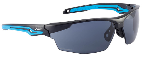 Bolle Tryon Safety Glasses with Black & Blue Frame and Polarized Smoke Lens TRYOPOL