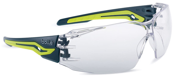 Bolle Silex Plus Safety Glasses with Black/Yellow Temples and Clear Platinum Anti-Fog Lens
