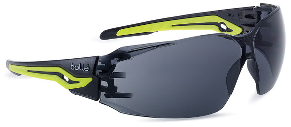 Bolle Silex Plus Safety Glasses with Black/Yellow Temples and Smoke Platinum Anti-Fog Lens
