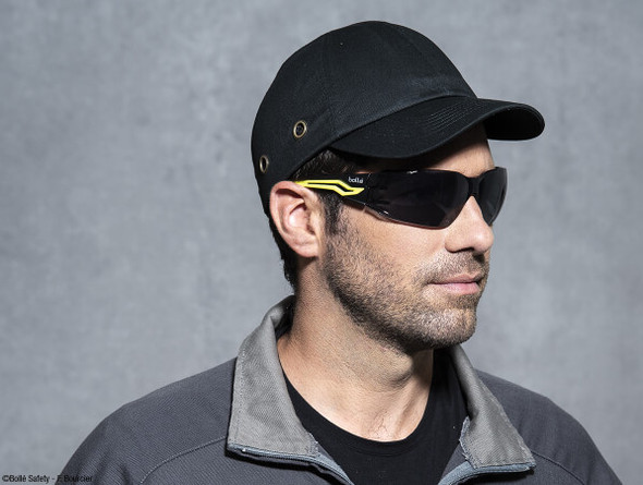 Man Wearing Bolle Silex Plus Safety Glasses with Smoke Platinum Anti-Fog Lenses