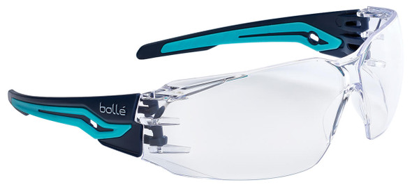 Bolle Silex Safety Glasses with Navy/Sky Blue Temples and Clear Anti-Fog Lens