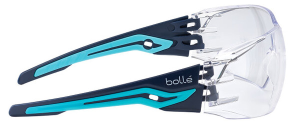 Bolle Silex Safety Glasses with Navy/Sky Blue Temples and Clear Anti-Fog Lens - Side View