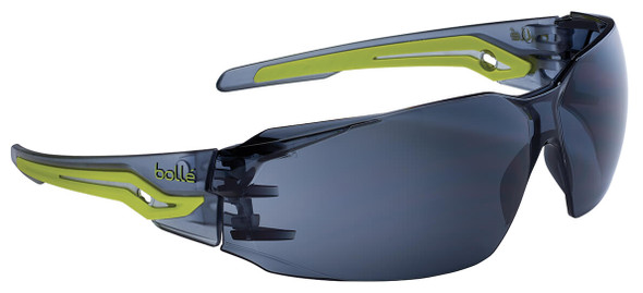 Bolle Silex Safety Glasses with Gray/Yellow Temples and Smoke Anti-Fog Lens