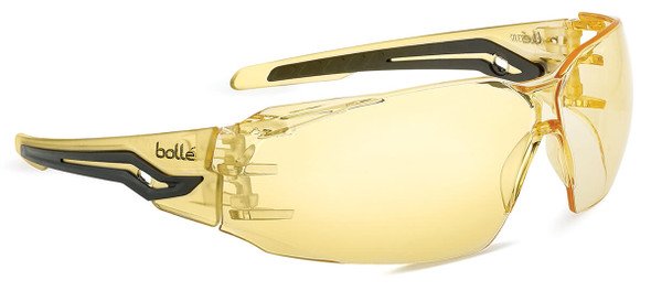 Bolle Silex Safety Glasses with Yellow/Black Temples and Yellow Anti-Fog Lens