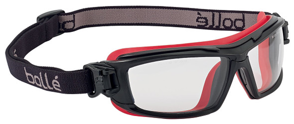 Bolle ULTIM8 Safety Glasses/Goggle with Black/Red Temples, Foam Gasket and Clear Platinum Anti-Fog Lens - With Strap Only