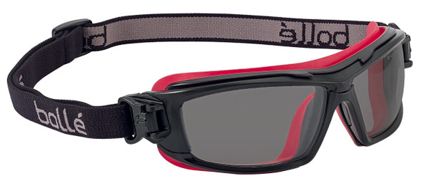 Bolle ULTIM8 Safety Glasses/Goggle with Black/Red Temples, Foam Gasket and Smoke Platinum Anti-Fog Lens - Strap Only
