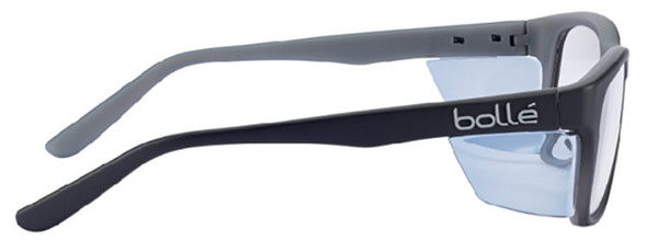 Bolle Kick Safety Glasses with Side Shields and Clear Blue-Blocker Lens - Side View PXFKICK109