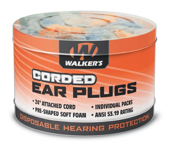 Walker's Bell Shaped Corded Earplugs NRR 32 (50 Pairs Tub)