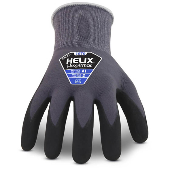 HexArmor Helix 1070 Foam Nitrile Dip Work Gloves - Front View