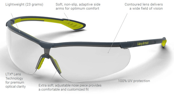 HexArmor VS250 Safety Glasses with Grey 23% TruShield S Anti-Fog Lens 11-15003-04 - Features