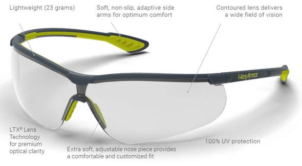 HexArmor VS250 Safety Glasses with Variomatic Dark TruShield Anti-Fog Lens 11-15008-08 - Features