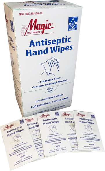 Magic Antiseptic Hand Wipes Box 100 Pre-Moistened Wipes