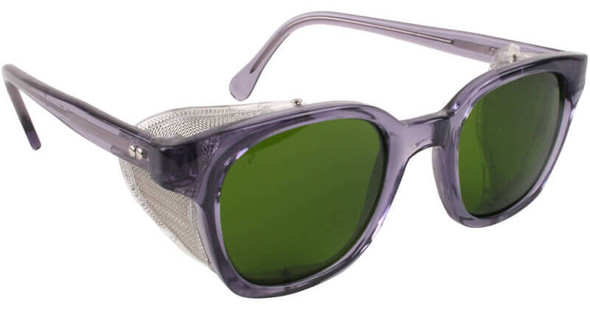Bouton Traditional Safety Glasses with Translucent Smoke Frame, Wire Mesh Sideshields and IR 3.0 Lens
