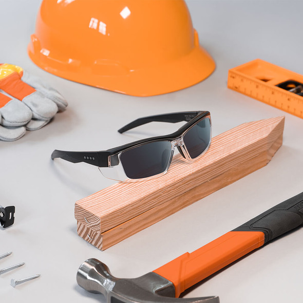EnChroma Martinez Color Blind Safety Glasses with Cx3 Outdoor Sun Lens Cx3-SN-MTZ-BK-PL - Lifestyle Image