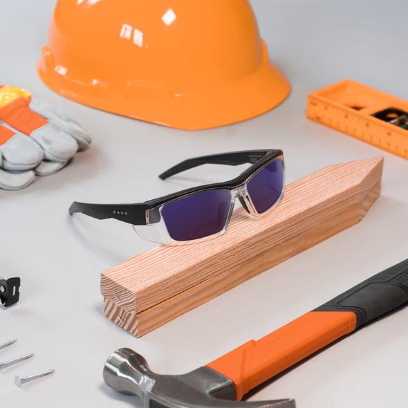 EnChroma Martinez Color Blind Safety Glasses with Cx3 Outdoor Sun SP Lens Cx3-PT-MTZ-BK-PL - Lifestyle Image