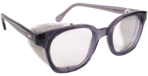 Bouton Traditional Safety Glasses with Translucent Smoke Frame, Wire Mesh Sideshields and Clear Anti-Fog Lens 249-5907-400