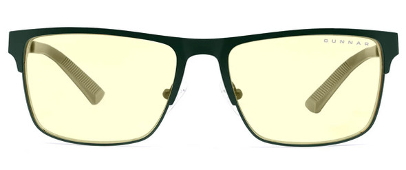 Gunnar Pendleton Computer Glasses with Moss Frame and Amber Lens PEN-09401 - Front View