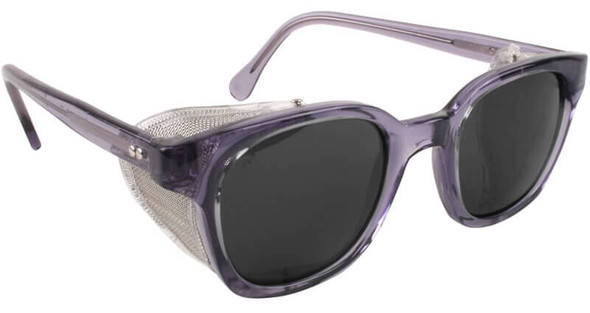 Bouton Traditional Safety Glasses with Translucent Smoke Frame, Wire Mesh Sideshields and Smoke Anti-Fog Lens
