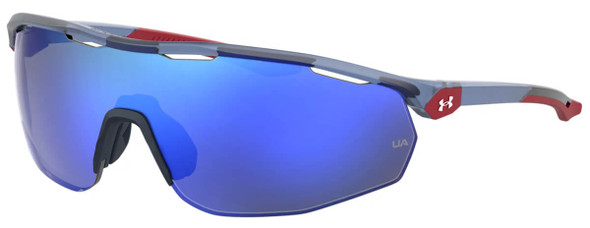 Under Armour Gametime Sunglasses with Transparent Blue Frame and Blue Mirror Lens UA0003GS-PJP-W1