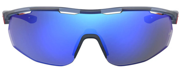 Under Armour Gametime Sunglasses with Transparent Blue Frame and Blue Mirror Lens UA0003GS-PJP-W1 - Front View