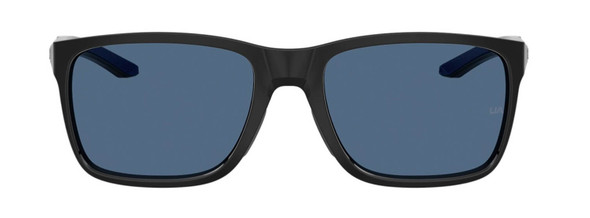 Under Armour Hustle Sunglasses with Black Frame and Blue Flash Lens UA0005S-807-KU - Front View