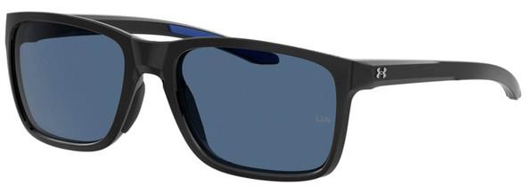 Under Armour Hustle Sunglasses with Black Frame and Blue Flash Lens UA0005S-807-KU
