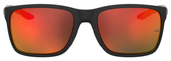 Under Armour Hustle Sunglasses with Black Frame and Red Mirror Lens UA0005S-RC2-UZ - Front View