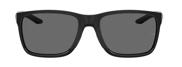 Under Armour Hustle Sunglasses with Black Frame and Grey Polarized Lens UA0005S-003-M9 - Front View