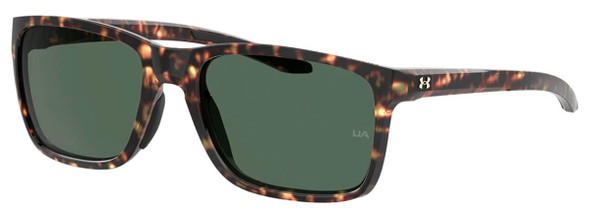 Under Armour Hustle Sunglasses with Brown Havana Frame and Green Lens UA0005S-086-QT