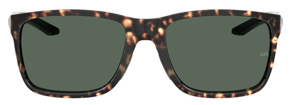 Under Armour Hustle Sunglasses with Brown Havana Frame and Green Lens UA0005S-086-QT - Front View