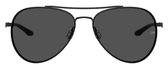 Under Armour Instinct Sunglasses with Black 57mm Frame and Grey Lens UA0007GS-003-57IR - Front View