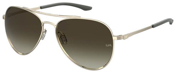Under Armour Instinct Sunglasses with Light Gold 57mm Frame and Brown Lens UA0007GS-3YG-HA