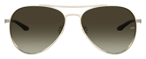Under Armour Instinct Sunglasses with Light Gold 57mm Frame and Brown Lens UA0007GS-3YG-HA - Front View