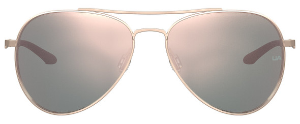 Under Armour Instinct Sunglasses with Rose Gold 57mm Frame and Rose Gold Mirror Lens UA0007GS-AU2-0J - Front View