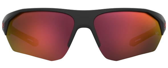 Under Armour Playmaker Sunglasses with Matte Black Frame and Orange Multilayer Lens UA0001GS-RC2-7F - Front View