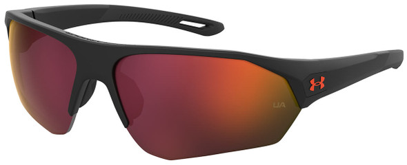 Under Armour Playmaker Sunglasses with Matte Black Frame and Orange Multilayer Lens UA0001GS-RC2-7F
