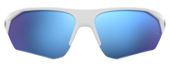Under Armour Playmaker Jr Sunglasses with White Frame and Baseball Blue Lens UA7000S-6HT-W1 - Front View