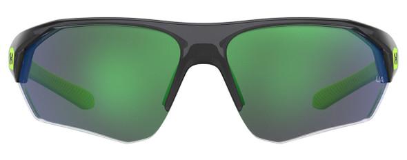 Under Armour Playmaker Jr Sunglasses with Transparent Grey Frame and Green Lens UA7000S-3U5-V8 - Front View