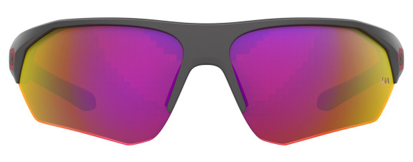 Under Armour Playmaker Jr Sunglasses with Jet Grey Frame and Grey Infrared Lens UA7000S-KB7-B3 - Front View