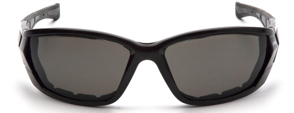 Pyramex Atrex Safety Glasses with Padded Black Frame and Gray Anti-Fog Lens SB10820DT - Front View