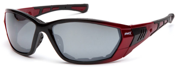 Pyramex Atrex Safety Glasses with Padded Red Frame and Silver Mirror Lens SR10870D