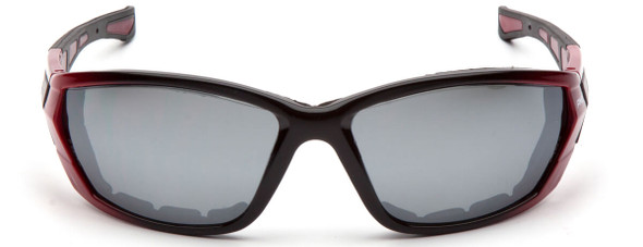 Pyramex Atrex Safety Glasses with Padded Red Frame and Silver Mirror Lens SR10870D - Front View