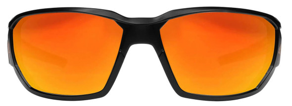 Edge Dawson Safety Glasses with Matte Black Frame and Aqua Precision Red Mirror Lens XDAP419 - Front View
