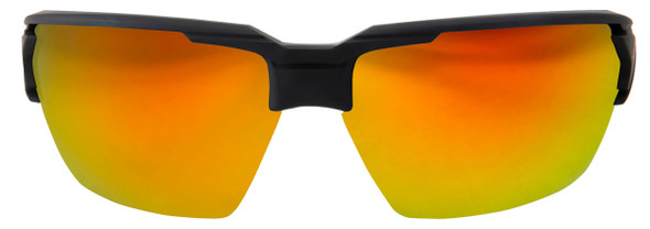 Edge Pumori Safety Glasses with Matte Black Frame and Aqua Precision Red Mirror Lens XPAP419 - Front View