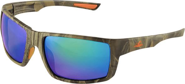 Bullhead Sawfish Safety Glasses with Camo Frame and Green Mirror Anti-Fog Lens BH261016AF