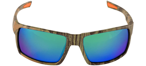 Bullhead Sawfish Safety Glasses with Camo Frame and Green Mirror Anti-Fog Lens BH261016AF - Front View