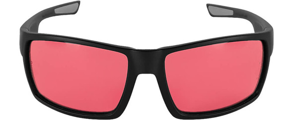 Bullhead Sawfish Safety Glasses with Black Frame and Rose Lens BH2664 - Front View